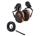 Set: 3M™ Peltor™ X4 Gehörschützer zur Helmmontage + Wireless Communication Accessoire orange
